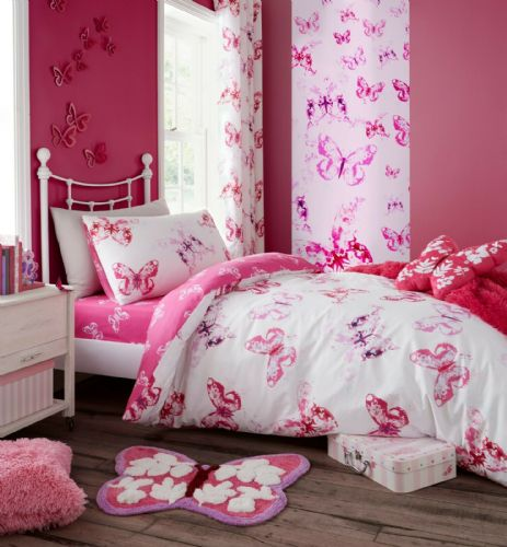 Catherine Lansfield Butterfly Pink Bedding Set